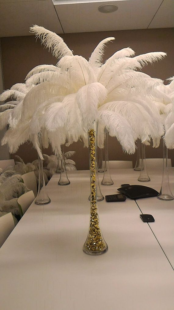 Gold Bling Ice Crystal Ostrich Feather Centerpiece for WeddingsBirthdayHoliday partiesGreat