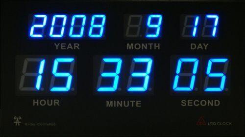 Amazon.co.jp: 電波時計 高輝度LED搭載 7セグデジタルカレンダー電波クロック (日本基準時を受信する電波時計) 壁に掛けても床に置いてもCoolなデザインインテリア!: ホーム&キッチン
