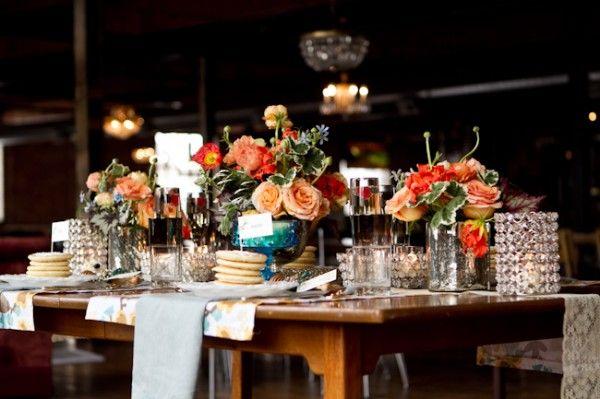 Brunch Wedding Inspiration: Table Settings, Wedding Inspiration, Newportwedding Bostonwedding, Peach Orange, Orange Blue, Wedding Colors, Blue Wedding Centerpieces, Blue Weddings, Flower Colors