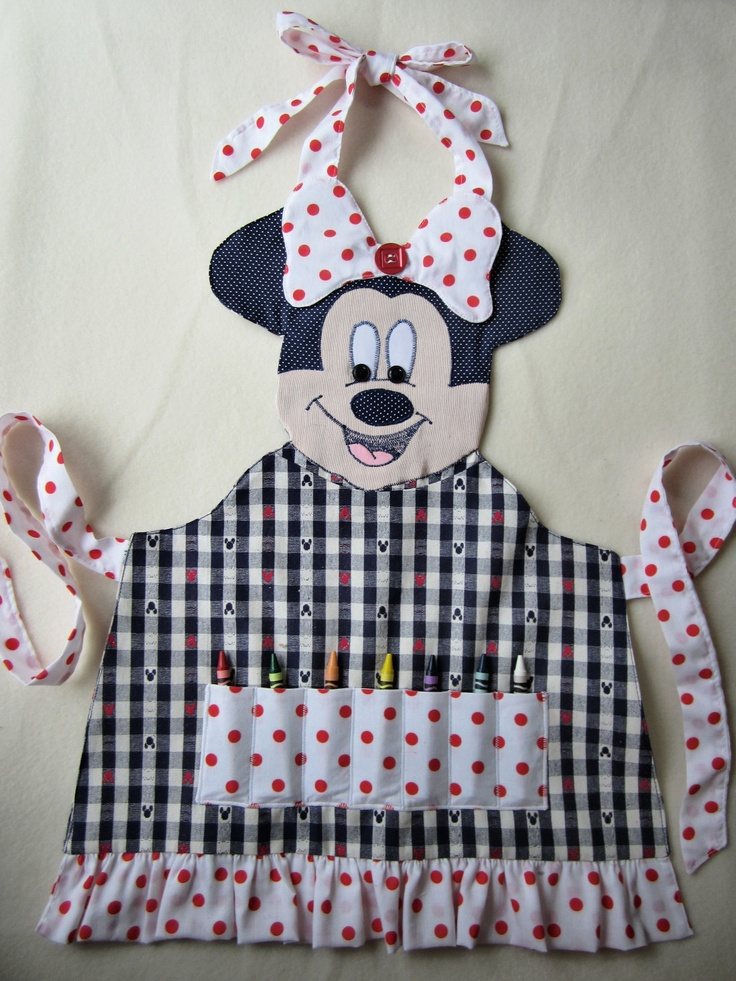 Minnie Mouse Crayon/Craft Apron  - Available In Sizes 3/4, 5/6, 7/8. KiddieKOVE - Etsy $34.00