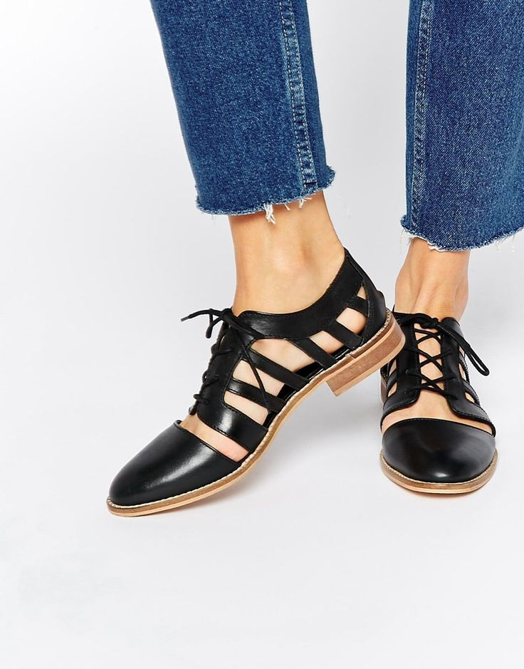 Image 1 of ASOS MELS Leather Flat Shoes