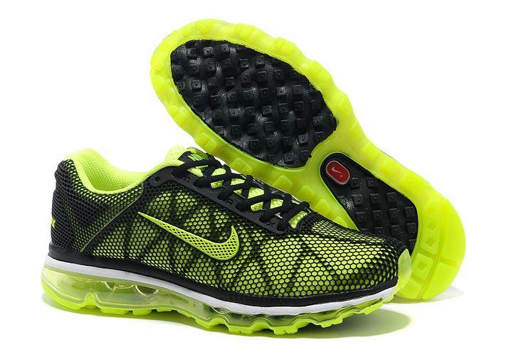 Billige Nike Air Max 2013 løbesko air sole Mesh Danmark black green