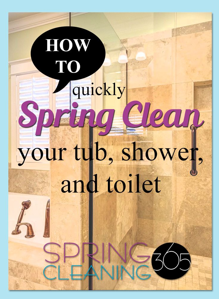 As we continue Spring Cleaning: Tub, Shower, Toilet our the next action items when deep cleaning the bathroom. Here's products & steps to get it clean FAST! http://springcleaning365.com/spring-cleaning-tub-shower-toilet/