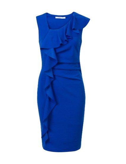 e2655b9d709926 Aansluitende jurk met ruffels Blauw