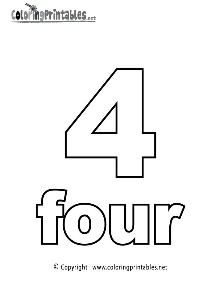 Number Four Coloring Page Printable Numbers Activities