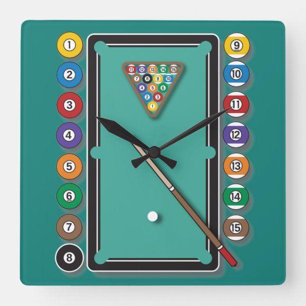 Billiards Square Wall Clock Zazzle Com In 2020 Clock Wall