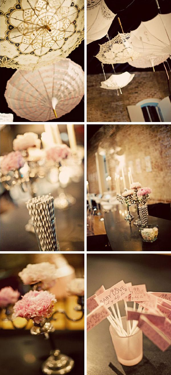 Maybe hang 3 lacy umbrellas from the ceiling with the lanterns/ balloons....