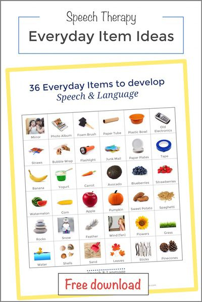 Everyday Item ideas for speech therapy