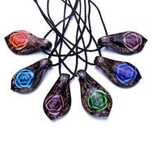 Venta caliente nuevo llega La Gota de Agua flor dentro de verano accesorios de la joyería de Cristal De Murano Colgante de Collar de la mujer chica(China (Mainland))