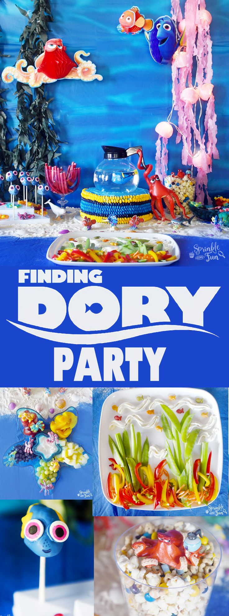 This Finding Dory party is complete with Finding Dory fun with every detail including Finding Dory games, food and party supplies!