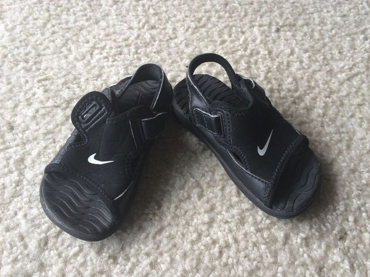 NIKE SunraY Adjustable Velcro big BOYS BLACK Youth SIZE 6c Water Shoes Kids #Nike #Sandals