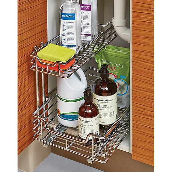 Kitchen Storage Under Sink Organizer: Chrome 2-Tier Sliding Organizer