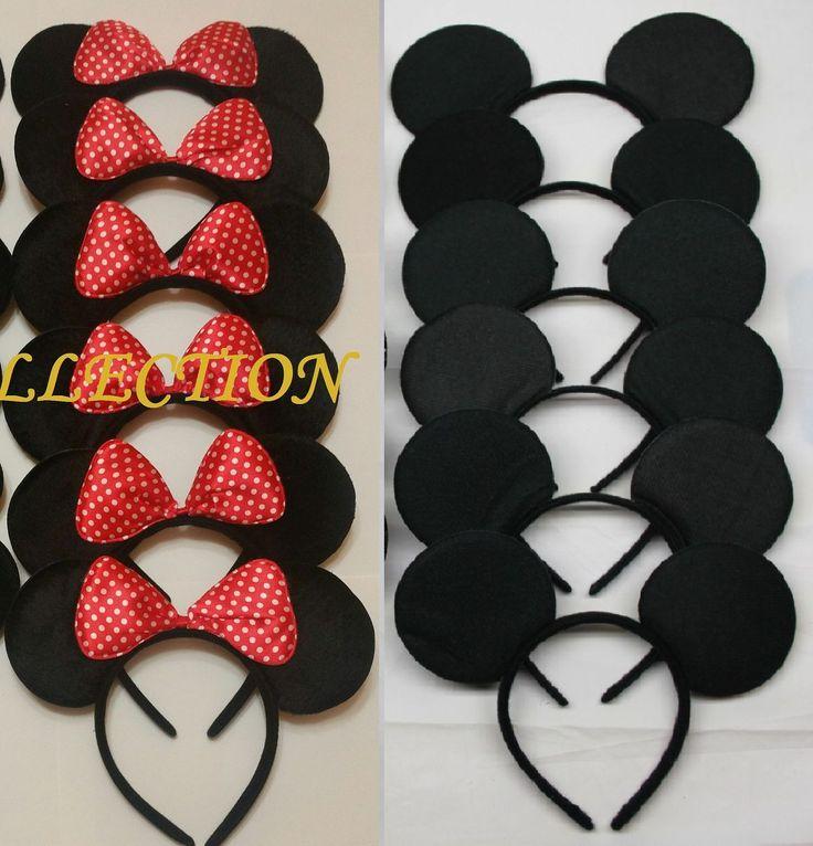 10 F Red Polka Bow Minnie & Solid Black Mickey   Ear Headband Birthday Party