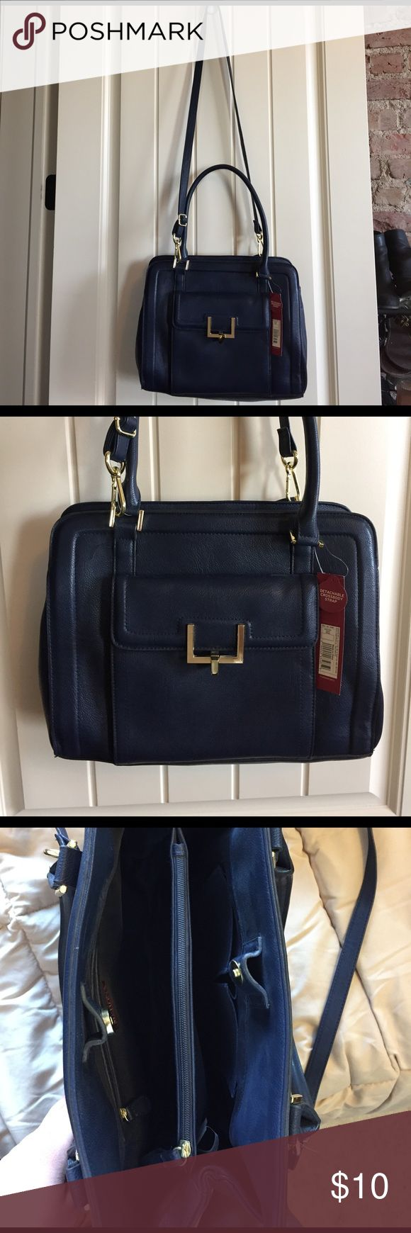 NWT Navy Purse Navy purse with detachable crossbody strap. Never been used, tags still attached! Gold details. Inside zippered divider. Merona Bags