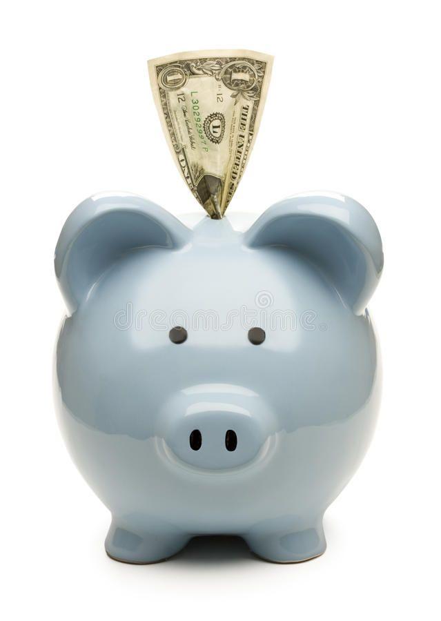 Piggy bank and saving. Blue piggy bank with one do…