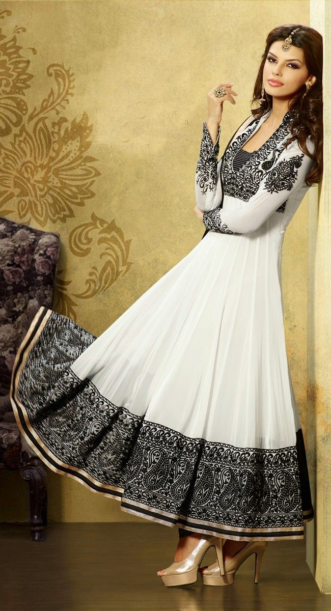 Black and White color Long Length Anarkali-Georgette Salwar Kameez