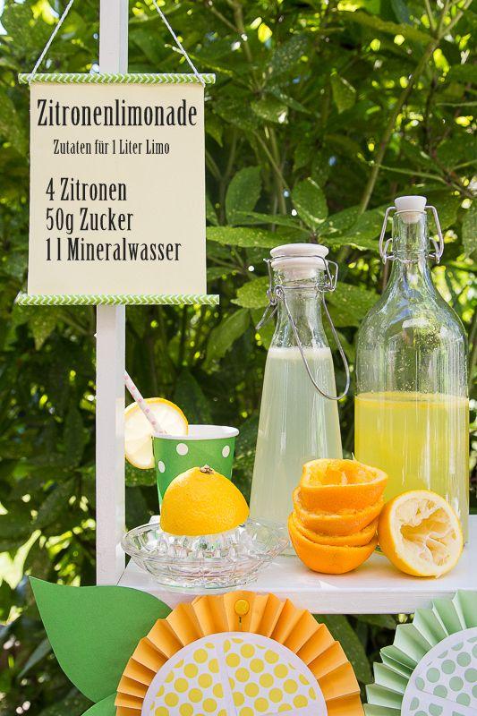 Sommerrezept für Zitronenlimonade - Limonadenstand www.pfefferminzgruen.blogspot.de