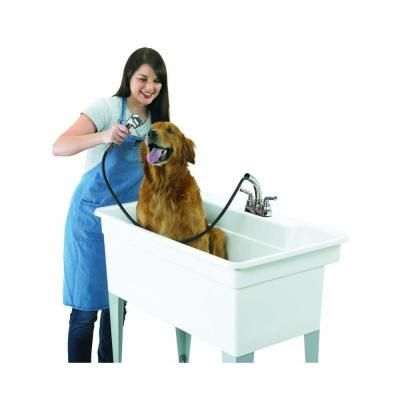 BigTub Utilatub Combo 40 in. x 24 in. Polypropylene Single Floor Mount with Pull-Out Faucet, P-Trap and Supply Lines in White-28CF - The Home Depot