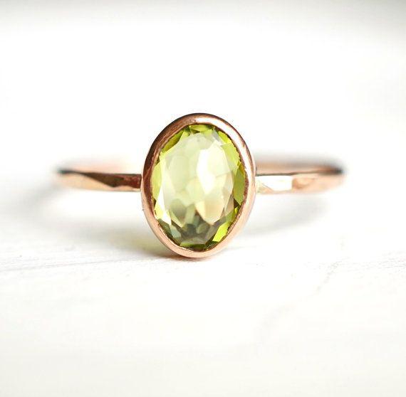 Peridot Ring Rose Gold Ring 14k Gold Ring Gemstone by Luxuring