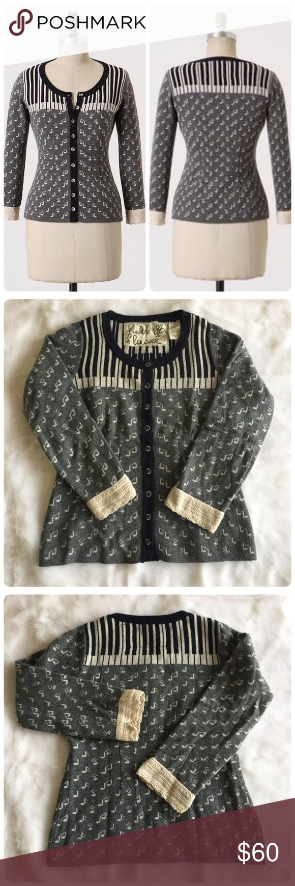 🎹🎼 Anthropologie Chopsticks Cardigan XS 🎼🎹 Cheaper on merc@ri. As ivories tickle the shoulders of this cozy sweater, the metallic flecked notes they produce waltz around below. From Field Flower by Wendi Reed.  Button front Viscose, nylon, cotton, lambswool, angora, cashmere, metallic fibers Dry clean Imported. Gorgeous  Anthro cardigan. Super unique & cute with gorgeous vintage & Victorian style 3 quarter sleeves. Wore only couple times. In EUC.🎼🎹🎼 by Field Flower... Anthropologie…