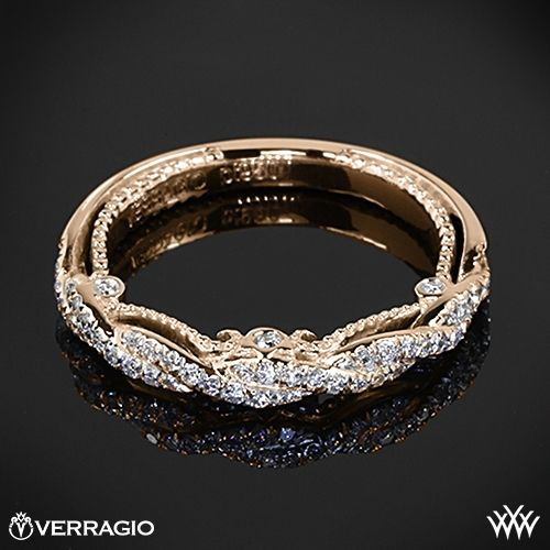 18k Rose Gold Verragio Beaded Braid Diamond Wedding Ring from the Verragio Insignia Collection. --> yellow gold ❤️
