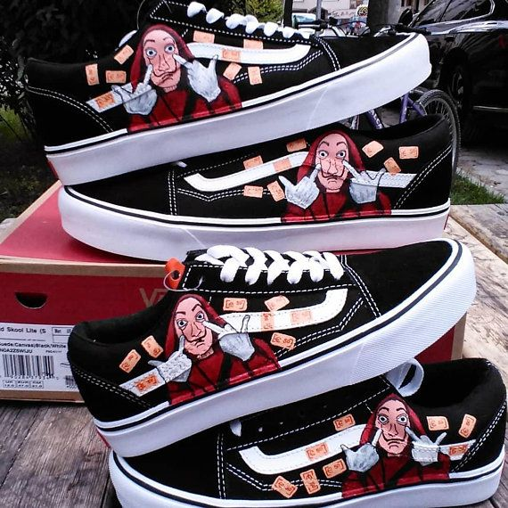 Custom vans old skool,la cassa de papel ,custom sneakers