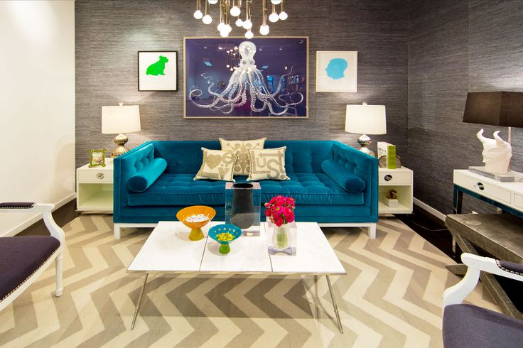 Marvelous Jonathan Adler 39 S Aquatic Themed Living Room. Real ...