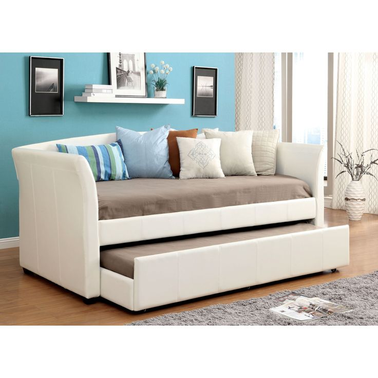Furniture of America Buckies Contemporary Leatherette Day Bed with Rolling with Trundle