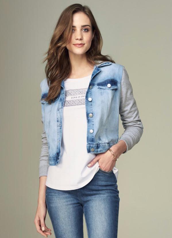 Jaqueta jeans com moletom