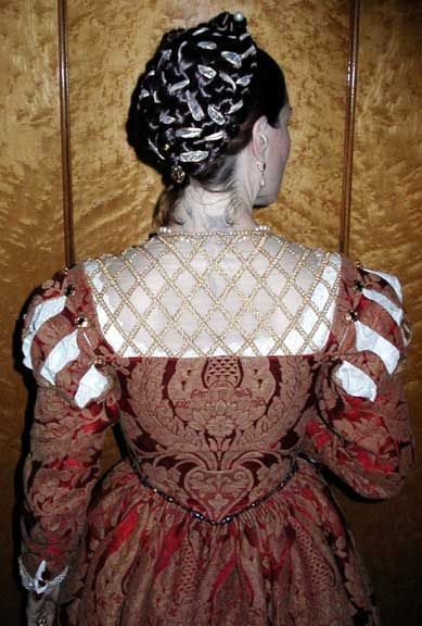 Amazingly beautiful Venetian gown by Alyxx Iannetta, back detail... and that hair! Perfect reproduction.