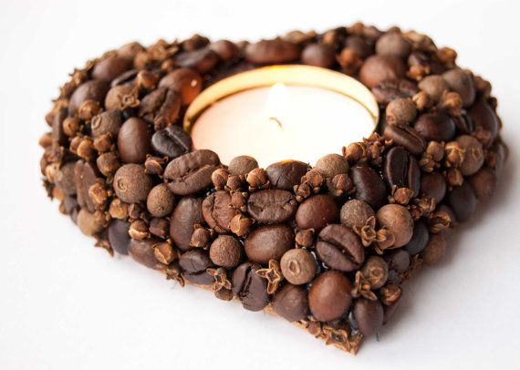 Heart    scented tea light candle holder coffee beans by kaleda, $19.00