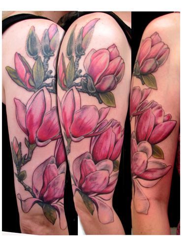 Magnolia × soulangeana (Magnolia Tree Hybrid) Arm Tattoo by Kim Reed
