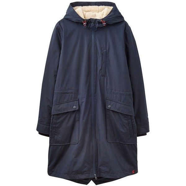 Joules Right as Rain Stormont Waterproof Parka ($165) ❤ liked on Polyvore featuring outerwear, coats, marine navy, quilted coat, waterproof parka, navy coat, long quilted coat and longline coat