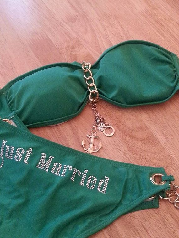 ANCHORS AWAY BIKINI by www.ecrdesigns.etsy.com in Rhinestones perfect Honeymoon/wedding gift, lingerie, sexy, bridal shower,Bride, Chain, Just Married Bandeau, Bikini... Green, Red or White!