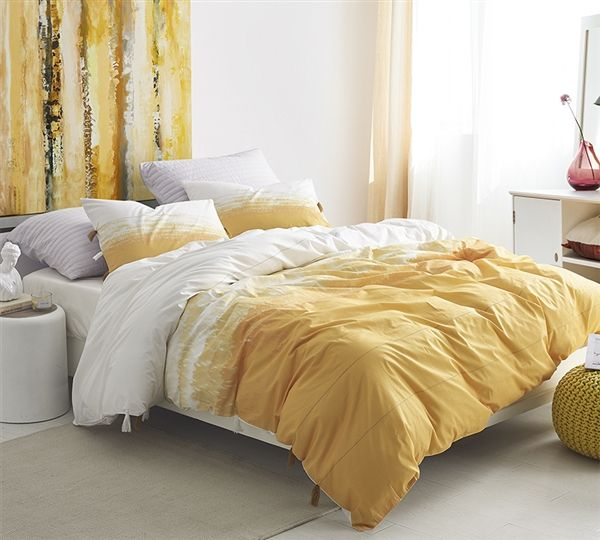 Unique Yellow And White Ombre Oversized King Bedding With Fun Tassel Accents And Cozy Cotton Extra Large King Duvet Cover Duvet Covers Yellow Yellow Duvet King Duvet Cover