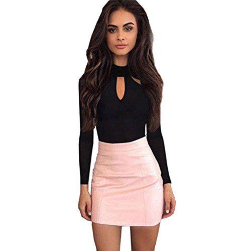awesome Langarm Shirt Jumpsuit, Sunday Runder Hals für Damen Lange Ärmel Bodysuit aushöhlen Clubwear Playsuit Overall (Schwarz, S)