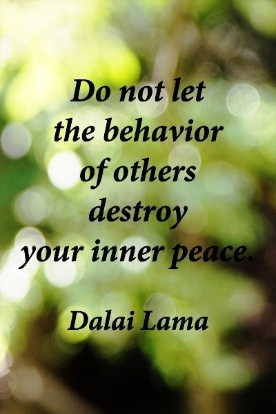 """Do not let the behavior of others destroy your inner peace."" - Dalai Lama"