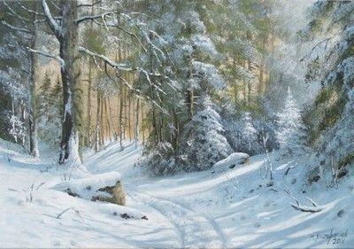 M.Szczepaniak `Droga w lesie`  70x50 cm