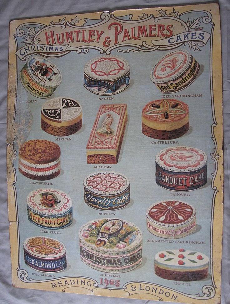 Vintage Christmas Cake Advertising Poster, Huntley & Palmers