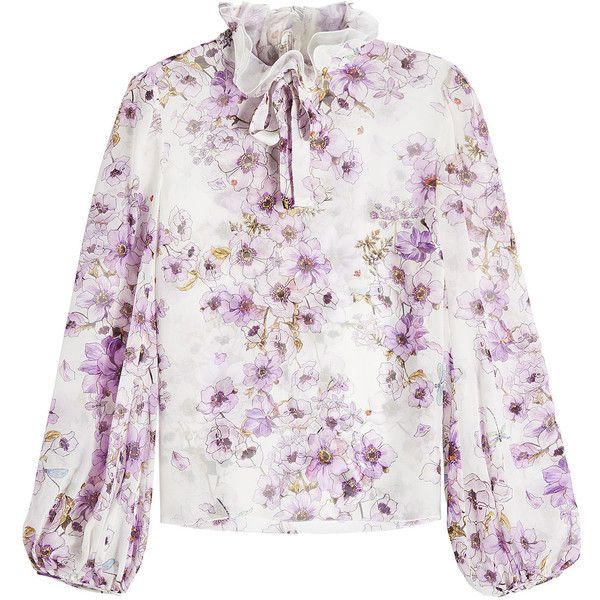 Giambattista Valli Printed Silk Blouse (2.975 RON) ❤ liked on Polyvore featuring tops, blouses, florals, see through blouse, white floral blouse, white ruffle blouse, high neck ruffle blouse and white blouses