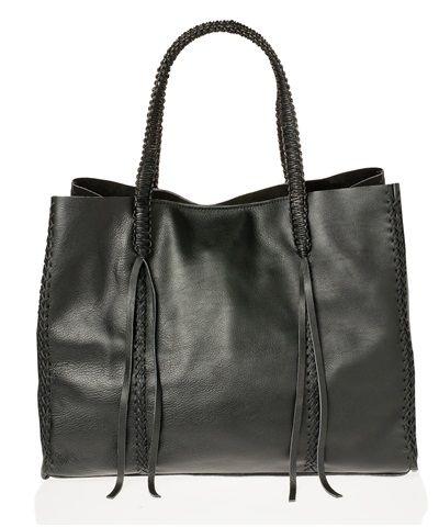 Callista Black Leather Lattice Striped Tote Bag available on aesthet.com