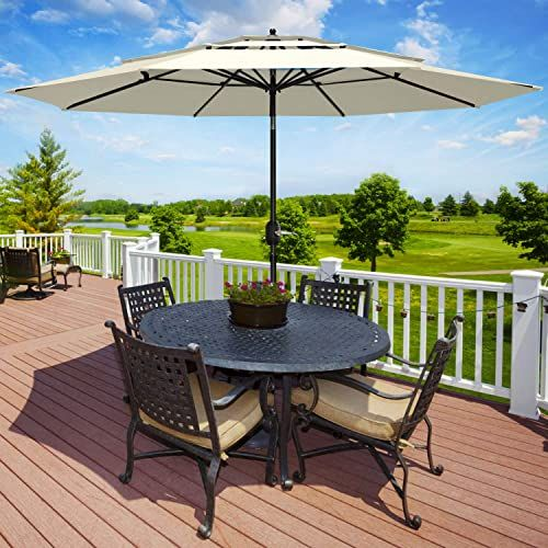 Enjoy Exclusive For Patiassy 3 Tier Triple Top 11 Feet Air Vented Tilt Patio Outdoor Umbrella Table Market Beige Online Findamazingstar In 2020 Patio Outdoor Umbrella Table Outdoor Umbrella
