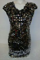 RARE DGR100 Damen Partytop lang Pailletten besetzt Unterkleid schwarz silber M