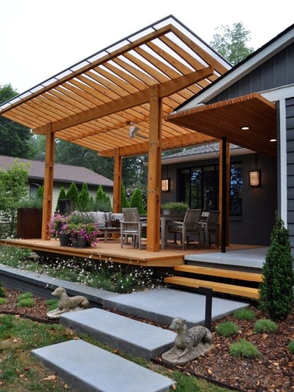 Concrete Free Floating Steps Lead To This Beautiful Cypress Outside Cantilevered Deck This Pavilion Has A Clea Outdoor Pergola Deck With Pergola Pergola Plans