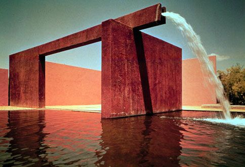 Luis Barragan Water feature corten steel spout
