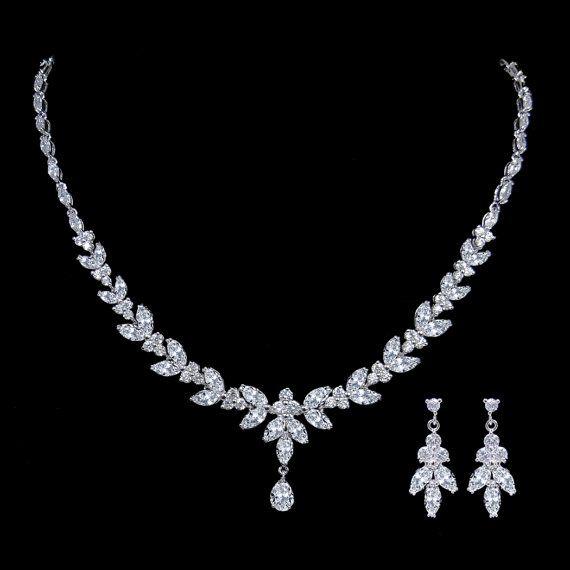 Elegant Diamond AAA Zircon Bridal Necklace Set, Clear Rhinestone Neckalce, Pendent Silver Earring, Bridesmaid Jewelry-1