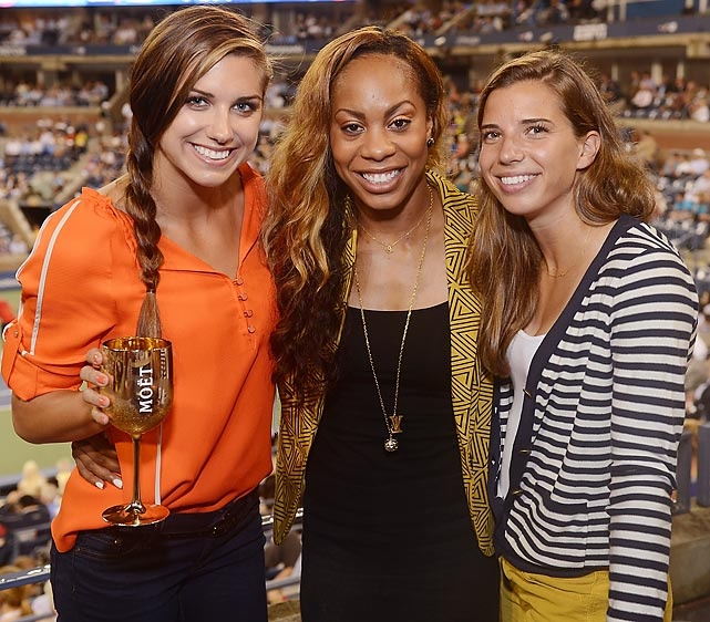 Olympians Alex Morgan, Sanya Richards-Ross, and Tobin Heath at the #USOpen