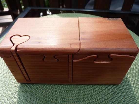 Handcrafted 7 Piece RedWood Puzzle Box With Heart Shaped Key And Secret Compartment