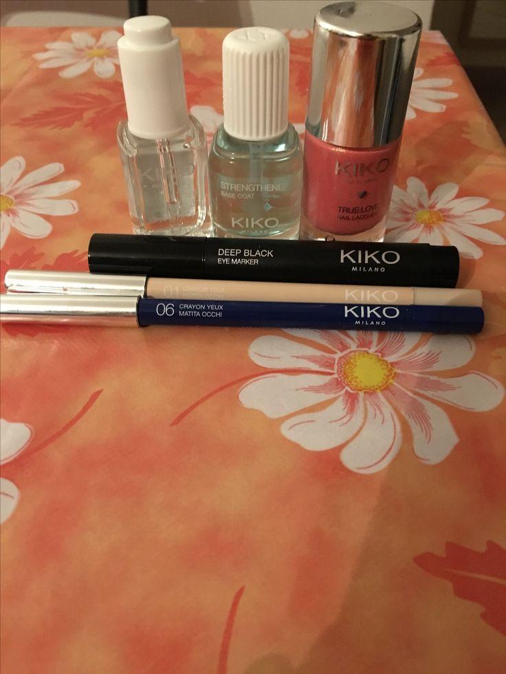 Kiko: Smalto rinforzante, Smalto Top Coat Gel, Goccine asciuga smalto, Eyeleiner penna nero, Matita Kajal blu notte e Matita Beige interno occhio. 6 al prezzo di tre! #promozions #kiko