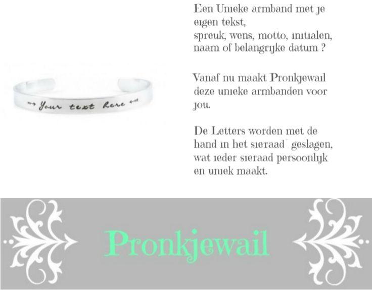 Cuff armband met eigen tekst laten maken  Laat je persoonlijke sieraad maken met een leuke tekst, spreuk, wens, initialen, naam of bijvoorbeeld een belangrijke datum.